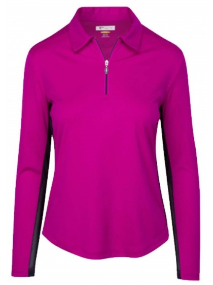 GREG NORMAN ML75 WOMEN'S LONG SLEEVE MESH TRIM GOLF POLO SIZE MEDIUM