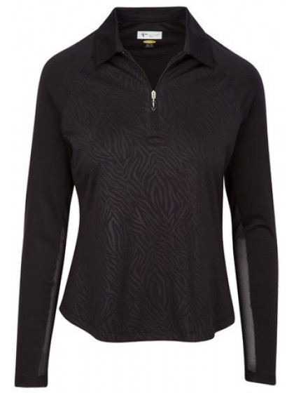 GREG NORMAN LADIES LONG SLEEVE ZIP ZEBRA LAWN BOWLS PULLOVER BLACK COLOUR
