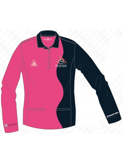 WOMEN'S BOWLS NSW OFFICIAL LONG SLEEVE POLO SHIRT