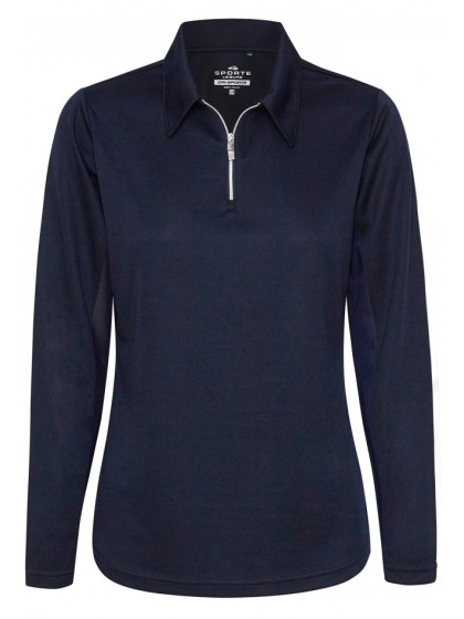 SPORTE LEISURE LADIES L|S MESH INSERT LAWN BOWLS PULLOVER FRENCH NAVY