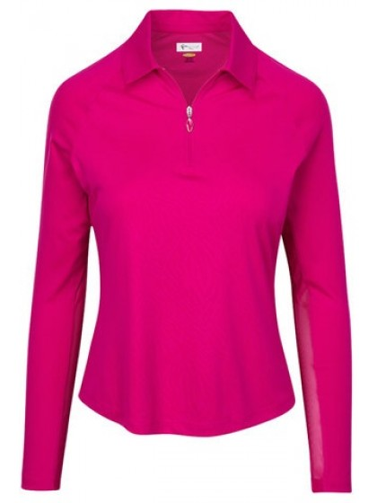 GREG NORMAN LADIES LONG SLEEVE ZIP ZEBRA LAWN BOWLS PULLOVER RUBY COLOUR