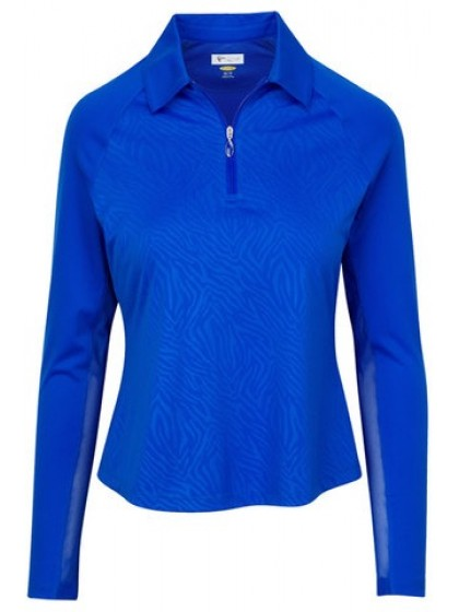 GREG NORMAN LADIES LONG SLEEVE ZIP ZEBRA LAWN BOWLS PULLOVER SAPPHIRE COLOUR